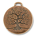 TierraCast Pendant | Tree of Life 24mm Pewter Antique Copper Plated