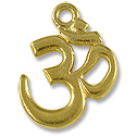 TierraCast Pendant | Om 22x17mm Pewter Bright Gold Plated