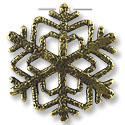 32x33mm Antique Brass Plated Snow Flake Pewter Pendant