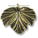 Leaf Pendant 34x40mm Pewter Antique Brass Plated (1-Pc)