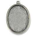 Oval Frame 25x19mm Pewter Antique Silver Plated