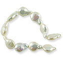 Freshwater Coin Pearls Baroque White 11-12mm (16