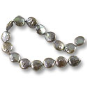 Freshwater Coin Pearls Baroque Peacock Pewter 12-13mm (16