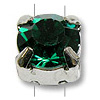 Swarovski Crystal 6mm Emerald Rhodium Plated Round 2-Hole Setting (1-Pc)