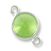 Swarovski Round Channel 8mm Peridot Sterling Plated (3-Pcs)