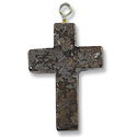 18x25mm Brown Snowflake Obsidian Cross Pendant (25-Pcs)