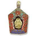 Tibetan Pendants Buddha with Turquoise/Lapis/Coral 35x28mm Brass