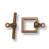TierraCast Toggle Clasp - Deco Square 13x19mm Pewter Copper Plated (Set)