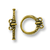 TierraCast Toggle Clasp - Heirloom 2-Loop 18x15mm Pewter Gold Plated (1-Pc)