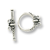 TierraCast Toggle Clasp - Heirloom 2-Loop 18x15mm Pewter Silver Plated (1-Pc)