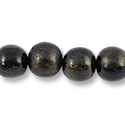 Wood Beads Round 16mm Black/Gold (16