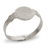 20mm Adjustable Glue-On Silver Color Ring (1-Pc)