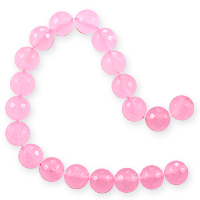 5 Strands of Dyed Rose Quartz Faceted Beads 10mm (16