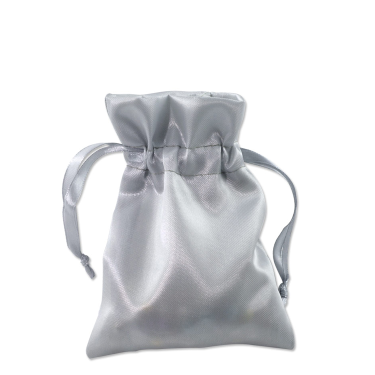 Satin Jewelry Pouch 3x4 Silver 10 Pcs