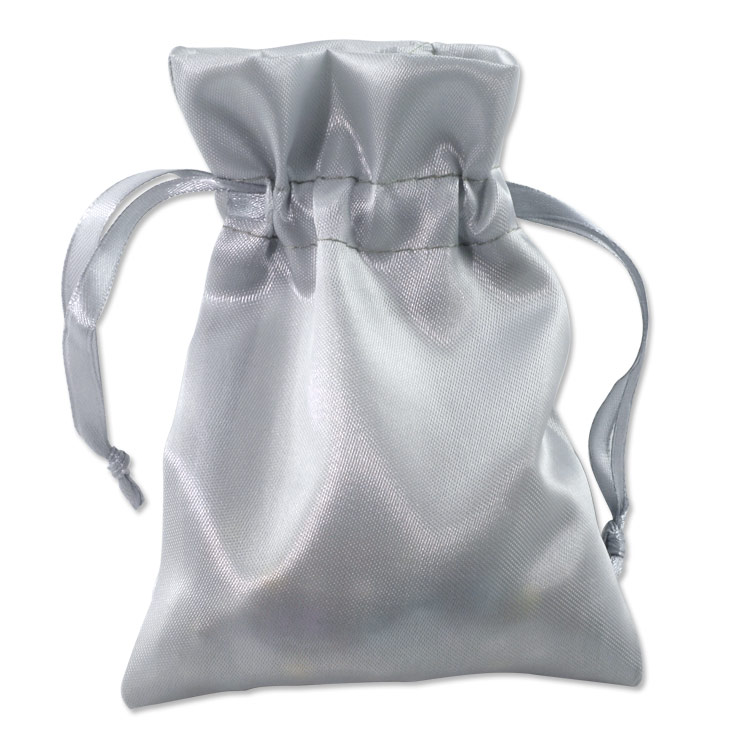 Top Small Satin Bags - Silver Color in packs of 10 small drawstring  SW04