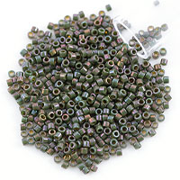 Miyuki Delica Seed Bead 11/0 Opaque Dark Green Gold Luster AB (3 Gram Tube)