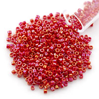 Miyuki Delica Seed Bead 11/0 Opaque Red AB (3 Gram Tube)
