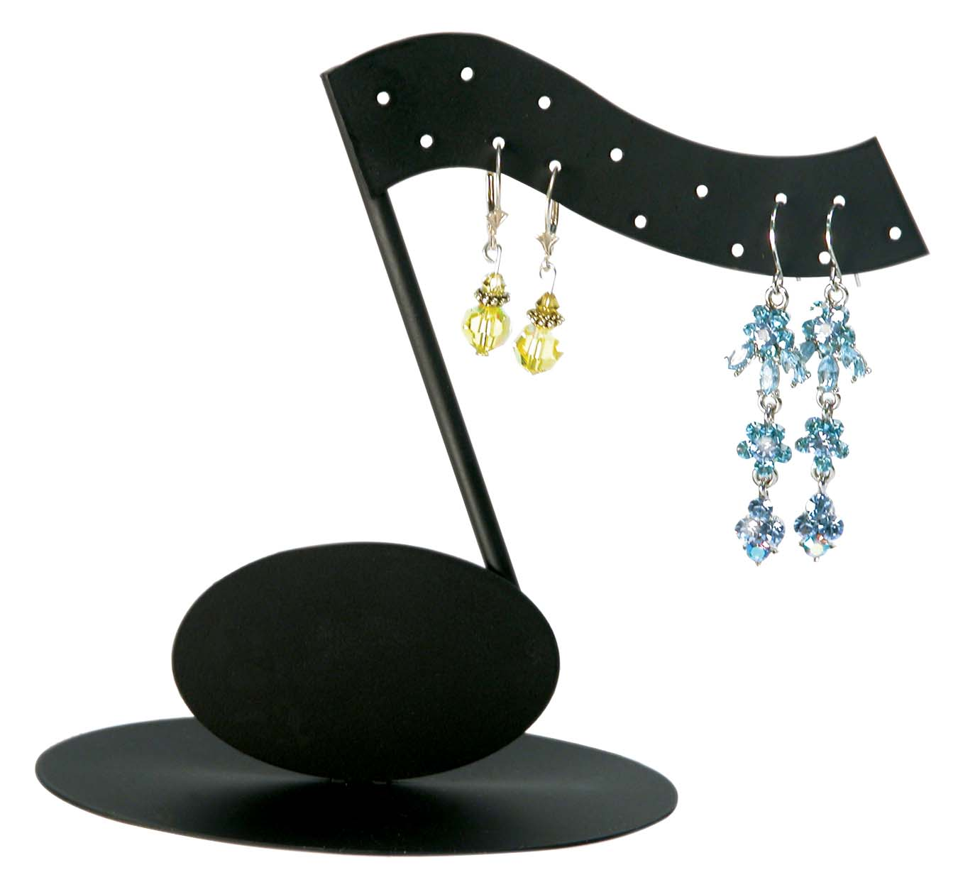 Mix Iron Earring Display Stand Jewelry Rack Tree With Wooden Base Black Size About 5cm Wide 10 15cm Long