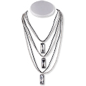 Faceted Clear Glass Stone Multi-Strand Black Leather Necklace 14-1/2