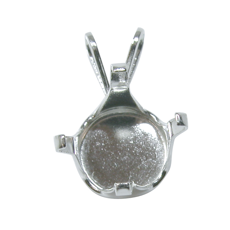 Snap set round pendant 10mm sterling silver simple jewelry making snap set pendant 10mm round 4 prong sterling silver mozeypictures Image collections