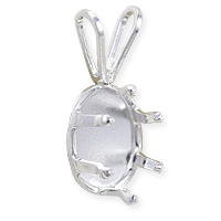 Snap & Set Pendant 8x6mm Oval 6 Prong Sterling Silver (1-Pc)