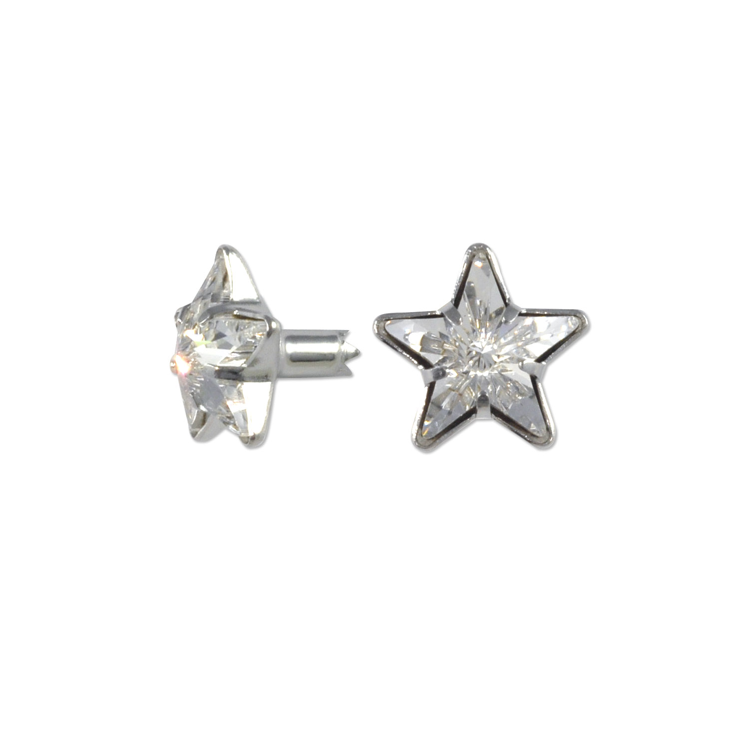 swarovski crystal star rivets 10mm crystal silver brushed