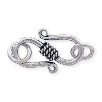 S Clasp with Twisted Rope Center Wrap  Sterling Silver w/ Jump Rings17x8mm (1-Pc)
