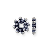Bali Style Double Heishi Bead 6.5x1.5mm Sterling Silver (1-Pc)