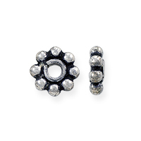 Bali Style Heishi Bead 6.5x2.5mm Sterling Silver (1-Pc)