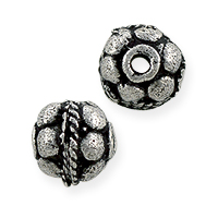 Bali Style Round Flower Bead 6.5x5.5mm Sterling Silver (1-Pc)