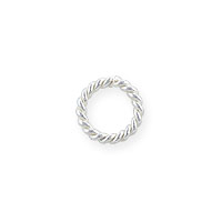 5mm Sterling Silver Twisted Wire Round Open Jump Ring (4-Pcs)