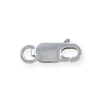 Lobster Claw Clasp - 12x5mm with Open Ring Sterling Silver (1-Pc)