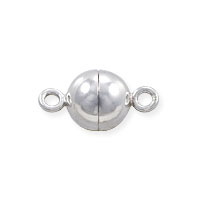Magnetic Round Clasp 8mm Sterling Silver (1-Pc)
