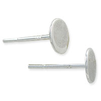 Flat Padded Ear Post 6mm Sterling Silver (1-Pc)