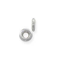 Flat Spacer Bead 3.7x1mm Sterling Silver (2-Pcs)