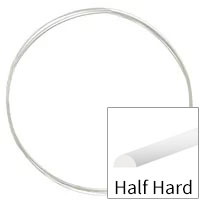 Sterling Silver Wire Half Round Half Hard 22ga (Priced per Foot)
