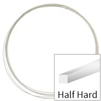 Sterling Silver Wire Square Half Hard 22ga (Priced per Foot)