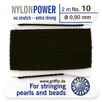 #10 Black Griffin Nylon Bead Cord (2 Meters)