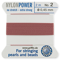 #2 Dark Pink Griffin Nylon Bead Cord (2 Meters)