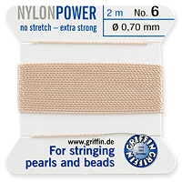 #6 Pink Griffin Nylon Bead Cord (2 Meters)