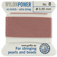 #8 Dark Pink Griffin Nylon Bead Cord (2 Meters)