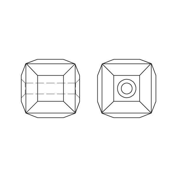 Swarovski 5601 Cube Bead Line Drawing