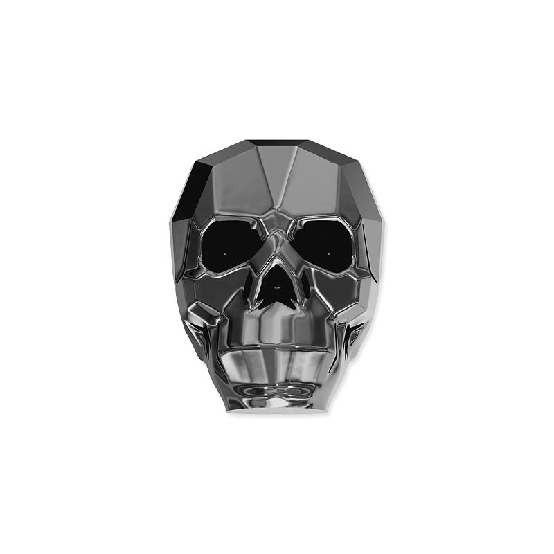 e9332fccb2207 Swarovski Skull Bead 5750 13mm Crystal Silver Night 2x (1-Pc)