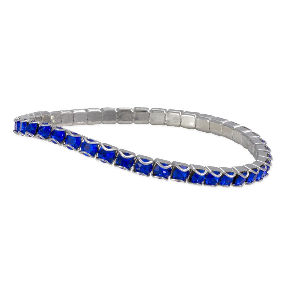 Swarovski Majestic Blue Rhodium Plated Catch Free 4mm Stretch Bracelet 1 Pc