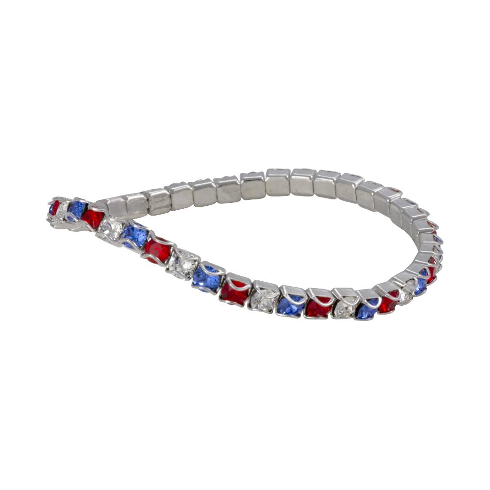 Swarovski Red White Blue Rhodium Plated Catch Free 4mm Stretch Bracelet 1 Pc