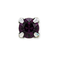 Swarovski Crystal 6mm Amethyst Rhodium Plated Round 2-Hole Setting (1-Pc)