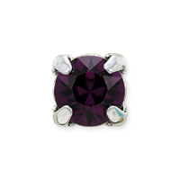 Swarovski Crystal 8mm Amethyst Rhodium Plated Round 2-Hole Setting (1-Pc)