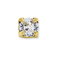 Swarovski 6mm Crystal Gold Plated Round 2-Hole Setting (1-Pc)