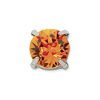 Swarovski Crystal 8mm Tangerine Rhodium Plated Round 2-Hole Setting (1-Pc)