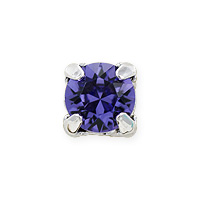 Swarovski Crystal 6mm Tanzanite Rhodium Plated Round 2-Hole Setting (1-Pc)